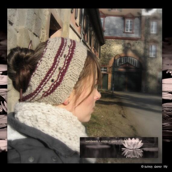Calorimetry Headband Beige & Plum with Eyelet Pattern