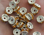 100 Rondelle Beads - Rhinestone - Yellow - 8x4mm  - Ships IMMEDIATELY  from California - B87a