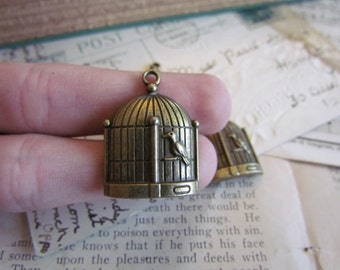Bronze Birdcage Charms - Antique Bronze - 31x23mm - 3pcs - Ships Immediately from California - BC69