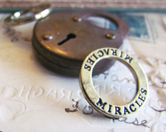"""Bronze """"MIRACLES"""" Ring Pendants - Anitque Bronze - 23mm - 5pcs  - Ships IMMEDIATELY  from California - BC158"""