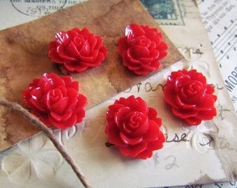 100 Flower Cabochons - WHOLESALE - Red - Emily Collection - 18x14mm - Ships IMMEDIATELY from California - C08Ra