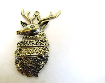Bronze Deer Charm - LARGE Dangle - 75x44mm - Ships IMMEDIATELY from California - BC125