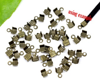 500 Crimp Ends - WHOLESALE - Bronze - Beads w/Loops -  7x5mm - Ships IMMEDIATELY  from California - F38a