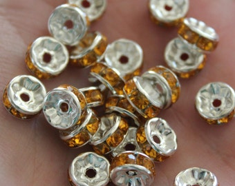20 Yellow Rhinestone Rondelle Spacer Beads 8x4mm Ships IMMEDIATELY  from California - B87
