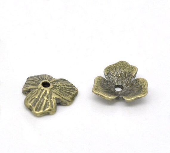 100 WHOLESALE Bronze Bead Caps - Antique Bronze - Flower - Fits 14mm to 20mm Beads - 11x10mm - Ships IMMEDIATELY from California - B82a