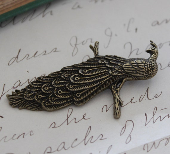 Bronze Peacock Charms Antique Bronze Pendant - 63x20mm - 3pcs - Ships IMMEDIATELY  from California - BC 346