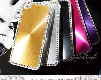 Shinning Made w/ Swarovski Diamond Crystal Aluminum Metallic Back Covet Case For iPhone 4S Hot Pink Purple Black or Gold