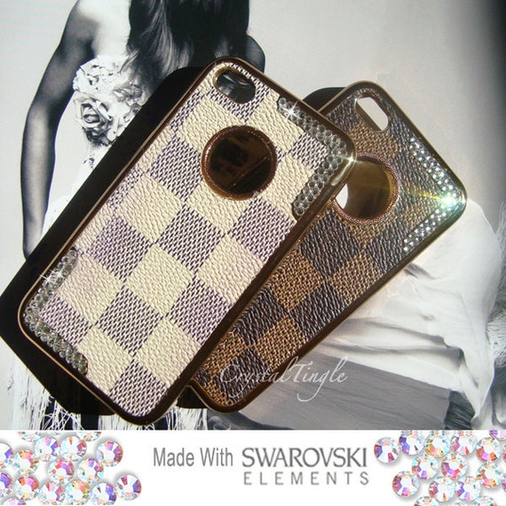 Square Pattern Luxury Classic CheckerBoard Case Made with Swarovski Elements Crystal for iPhone 4 and 4S Cream White
