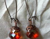 Copper apricot faceted Crystal briolettes earrings with acopper cap