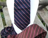 FATHERS DAY Gift, Vintage Silk Ties, Robert Talbot blue red & The Peddler brown red striped, hand sewn vintage fashion, dad grandpa