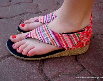 Vegan Womens Wedge Sandals In Bright Pink Hmong Embroidery and Batik - Abbie