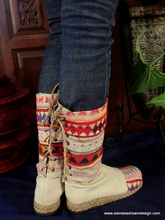 Tribal Embroidered & Appliquéd Natural Woven Cotton Back Lace Vegan Boots, Size 7.5 - 12