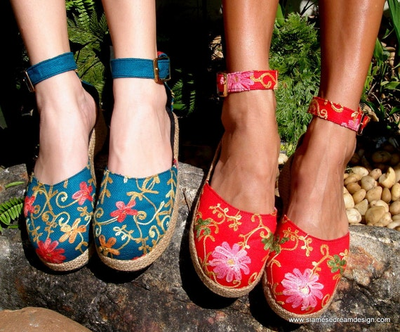 25% Off Clearance Sale- Embroidered Floral Wedge Womens Shoe In Teal Or Red