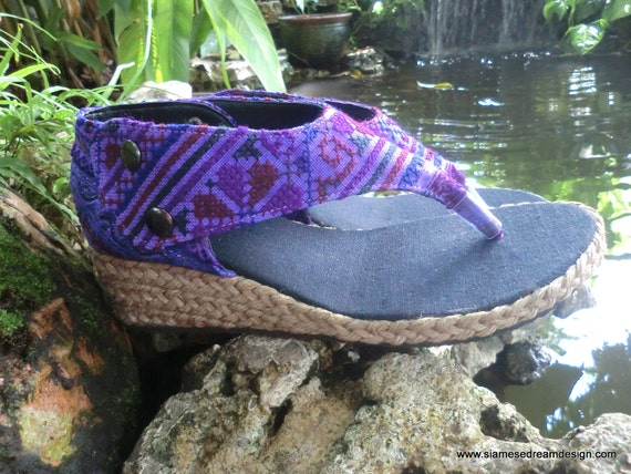 Royal Purple Womens Vegan Wedge Sandals In Hmong Embroidery 10