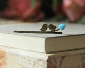 Hair pin Love birds on branch with Light blue rose, Antiqued Brass,Original VintagebyRachel on Etsy