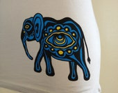 Blue and Gold Psychedelic Elephant on Grey Scoop-Neck Women's Tee