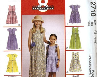 McCalls 2710 Girls Dress Pinafore Jumper button thru Size 6-7-8 (Uncut) sewing pattern