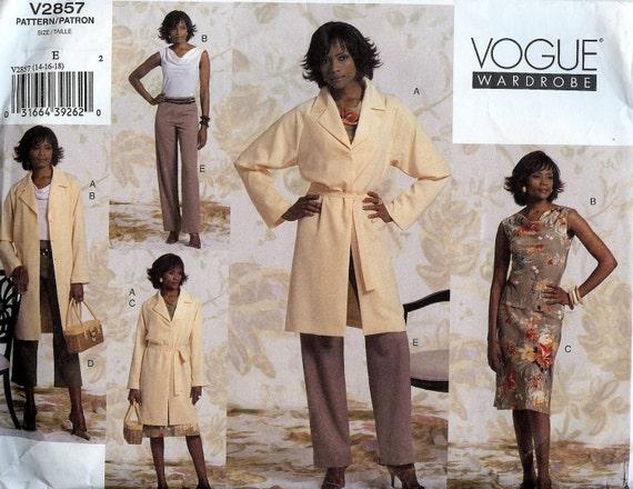 PATTERN Vogue 2857 Jacket Belt Top Skirt Pants Size 14-16-18 Vogue Wardrobe uncut