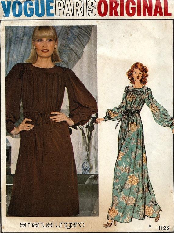 PATTERN Vogue 1122 Dress loose bias cut boho maxi Size 14 Vogue Paris Original Emanuel Ungaro Vintage & Uncut