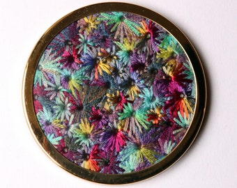 Rainbow Starburst Embroidered Handbag Mirror