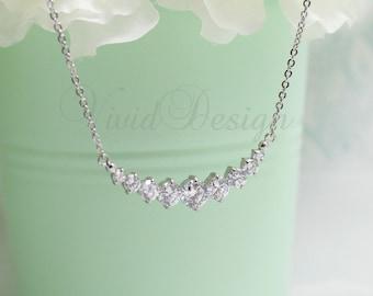 Simple Classic CZ Bridal Necklace Set