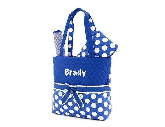 Monogrammed Baby Diaper Bag Royal Blue Polka Dot with cosmetic case Personalized