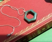 Turquoise Geometric Hexagon Boho Necklace-- Modern Ceramic with Sterling Silver Plated Chain--Handmade Graduation Gift