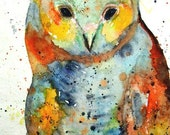 Owl, Illustration, Nursery, Teens,  Childrens Room  - FREE SHIPPING -Giclee  Art Print from my Original Painting - ebsq Artist Ricky Martin - RickyArtGallery