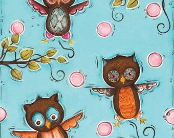 Owl Wall Art ~ Home Decor Art Print ~ Girls Bedroom ~ Owl Nursery Theme Decor ~ Owls Room ~ Hand Painted Art Print