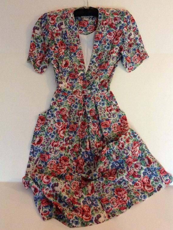80s Rayon Floral Dress by RJ Stevens Size 6 Petite