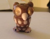 Lavender Bubble Eye Owl Figurine Bead - one of a kind handmade lampwork glass
