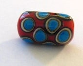 Red Barrel Bead with Ivory and Turquoise Dots - one of a kind handmade lampwork glass