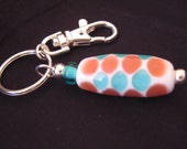 Large Aqua, Rose, and White Barrel Bead Keychain featuring unique handmade lampwork glass beads