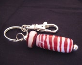Large Red and Pink Barrel Bead Keychain featuring  one of a kind handmade lampwork glass