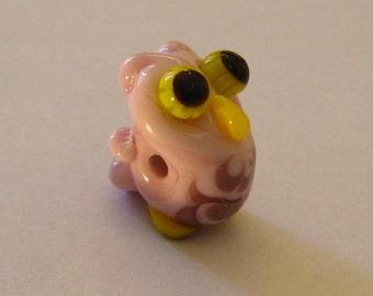 Pink Owl Figurine Bead - one of a kind handmade lampwork glass