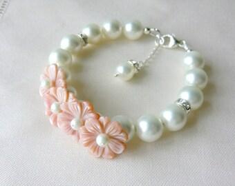 White Swarovski Pearl Bracelet Bridal Jewelry Bridesmaids Jewelry Flower Girls Bracelet Summer Pink Shabby Wedding Jewelry  Pearl Jewelry