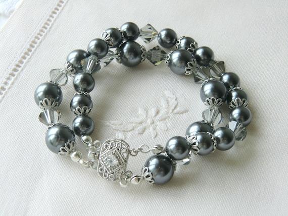 Grey Pearl Bracelet Swarovski Crystal Bracelet  Bridal Jewelry Bridesmaid Bracelet Double Row Bracelet Wedding Jewelry  Mother of the Bride