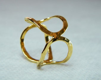 Oval ring gold handmade ring infinity ring statement gold ring