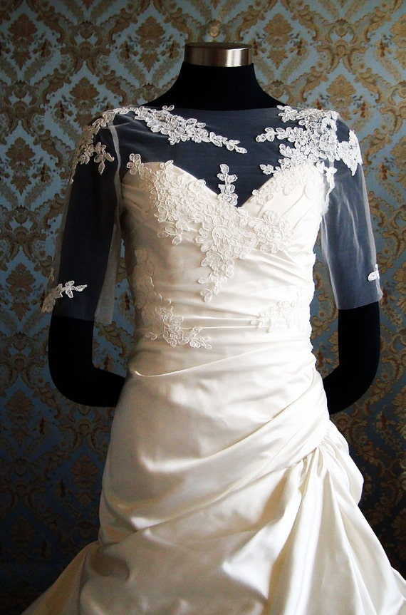 Illusion Tulle Bolero Sheer Tulle & Lace Bolero Bridal Jacket with V Back by IHeartBride Style Abella Elini Custom Bolero Designer