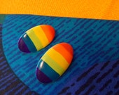 Over The Rainbow  Earrings 1980s colorful striped metal oval posts Gay pride