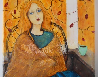 Woman with Book and Tea Cup, Coffee Cup,  Autumn Colors, 8 x 8 Acrylic Painting, Square Canvas, Long Red Hair, Cozy Daydream Front Porch