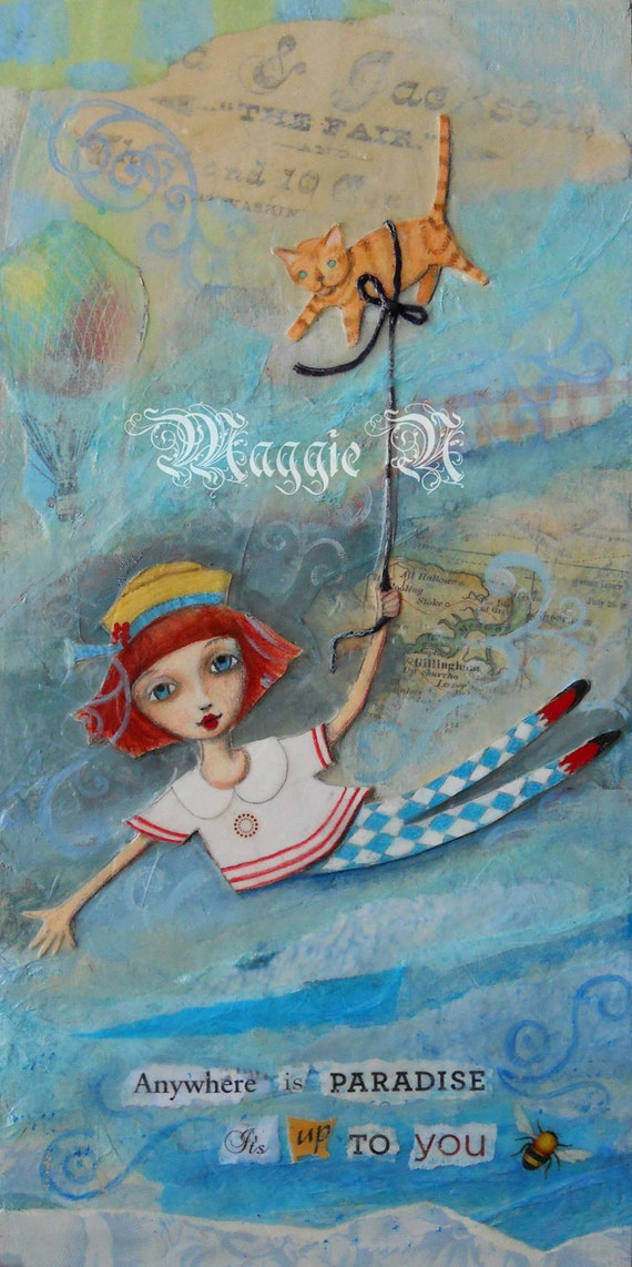 Mixed Media Original Painting // Tween Girl // Art for Child // Folk Art // Floating Girl with Her Cat Balloon // 6 x 12