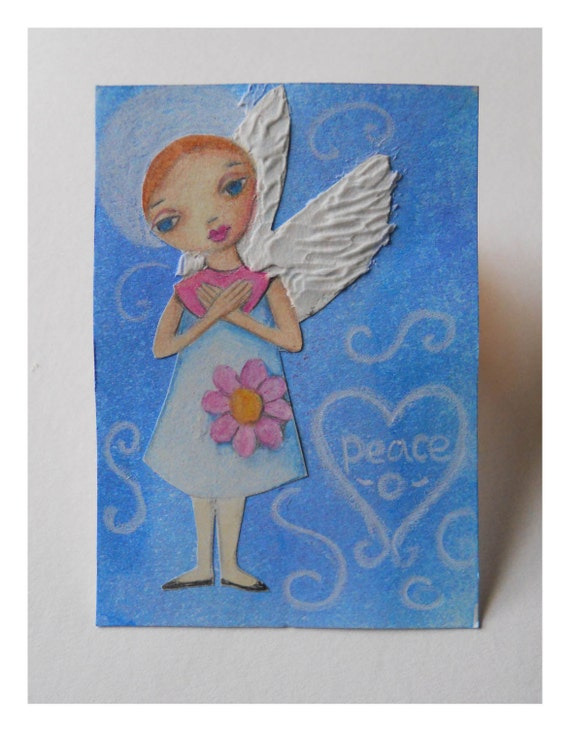 ACEO Angel of Peace - Original Mixed Media Collage - 2.5 x 3.5 Inches