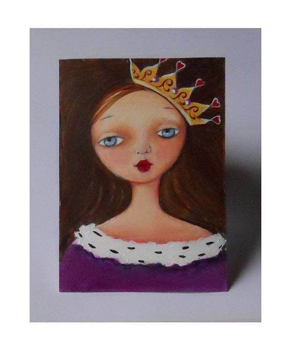 Art for Girl - Princess - Tween Girl - Original ACEO - Painting - 2.5 x 3.5 Inches