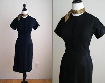 Vintage Little Black Wiggle Wool Dress - 1950's early 1960's
