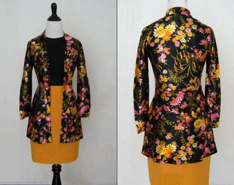 MARKDOWN - 1970's Vintage Yellow and Pink with Black Blouse
