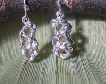 Earrings - Sterling Silver Multi-Oval - Cuttlefish Bone Casting - Cuttlebone Cast - Modern Jewelry by Jyoti McCall