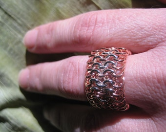 Chainmaile Ring - US Size 8.5, 9, 9.5  - Copper and Sterling Silver - Comfortable, Flexible Ring -  Modern Jewelry by Jyoti McCall