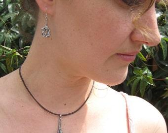 Oxidized Sterling Silver Multi-Triangle Earrings - Cuttlefish Bone Casting - Cuttlebone Cast - Modern Jewelry by Jyoti McCall