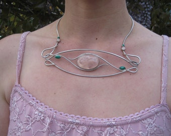 Necklace - One Of A Kind - Sterling Silver, Rose Quartz, and Malachite - Modern Jewelry by Jyoti McCall